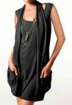 Dviejų dalių juoda mini suknelė - tunika