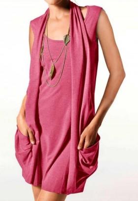 Dviejų dalių koralo spalvos mini suknelė - tunika