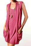 Dviejų dalių koralo spalvos suknelė - tunika
