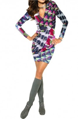 Print dress with ruchings, multicolour