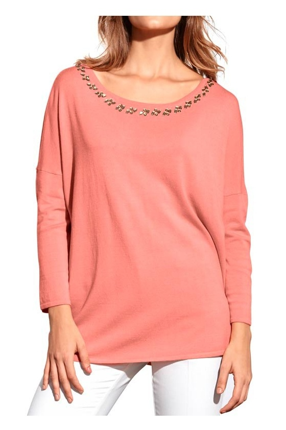 Shirt with strass, apricot