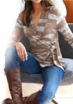Wrap sweater, brown-ecru