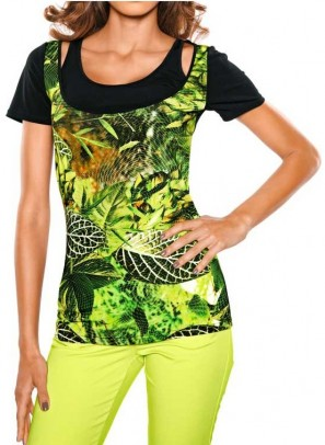 Two-in-one shirt, black-multicolour