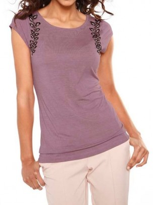 Designer shirt with beads, mauve