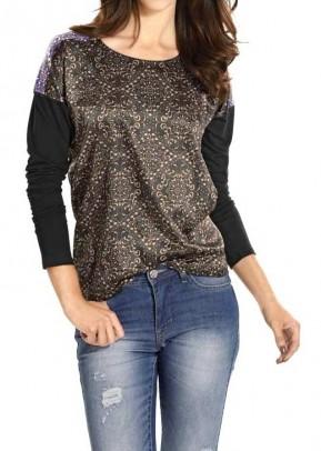 Satin shirt, black-multicolour