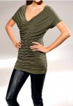 Designer shirt with ruchings, olive