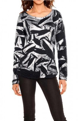 Sweatshirt, silver-black
