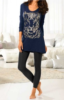 Long shirt with sequines, navy