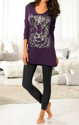 Long shirt with sequines, berry