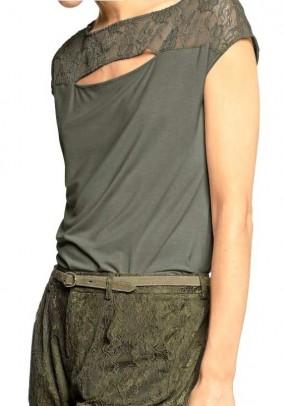 Lace shirt, olive