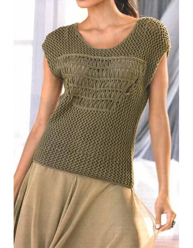 Chaki megztinis trumpomis rankovėmis