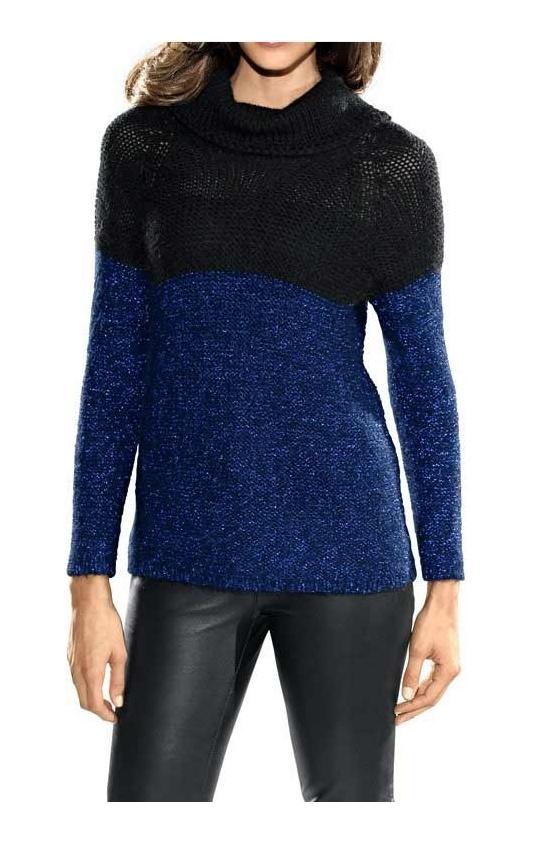 Mėlynas megztinis aukštu kaklu
