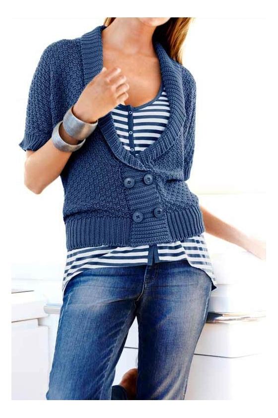 Mėlynas megztinis su sagomis