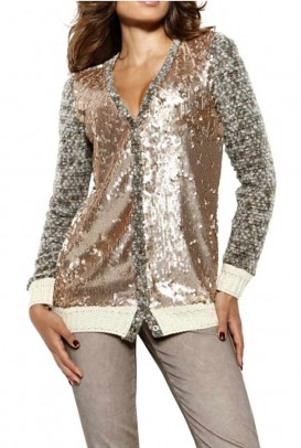 Cardigan with sequines, multicolour