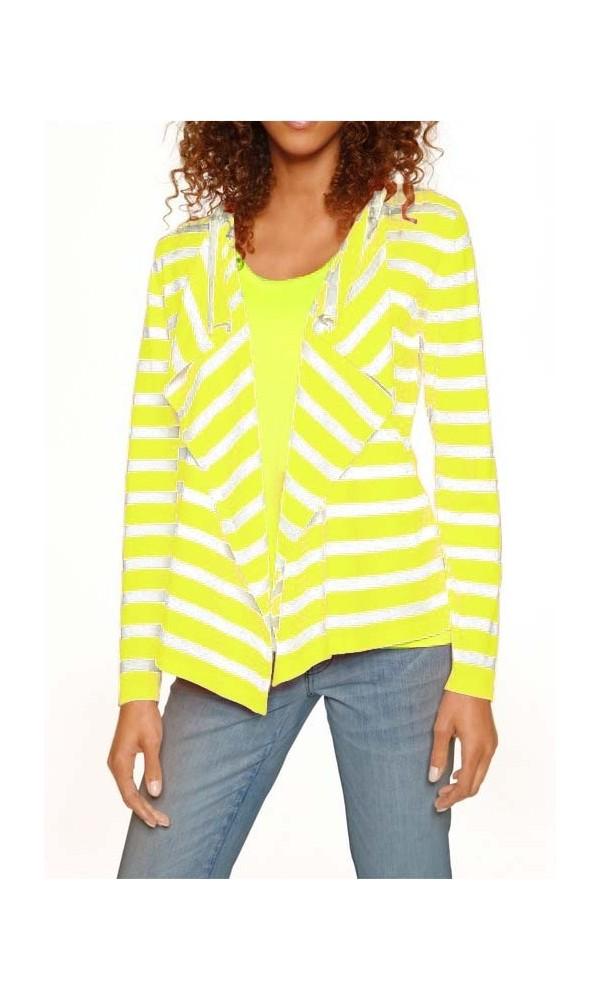 e7454a4a5b2f46 Knitwear twin-set, neon yellow -white