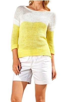 Megztinis balta-geltona