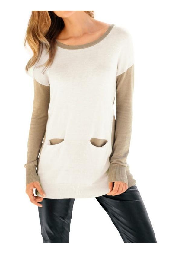 Sweatshirt with cashmere, ecru-beige