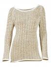 Ribbon yarn sweatshirt, white-beige