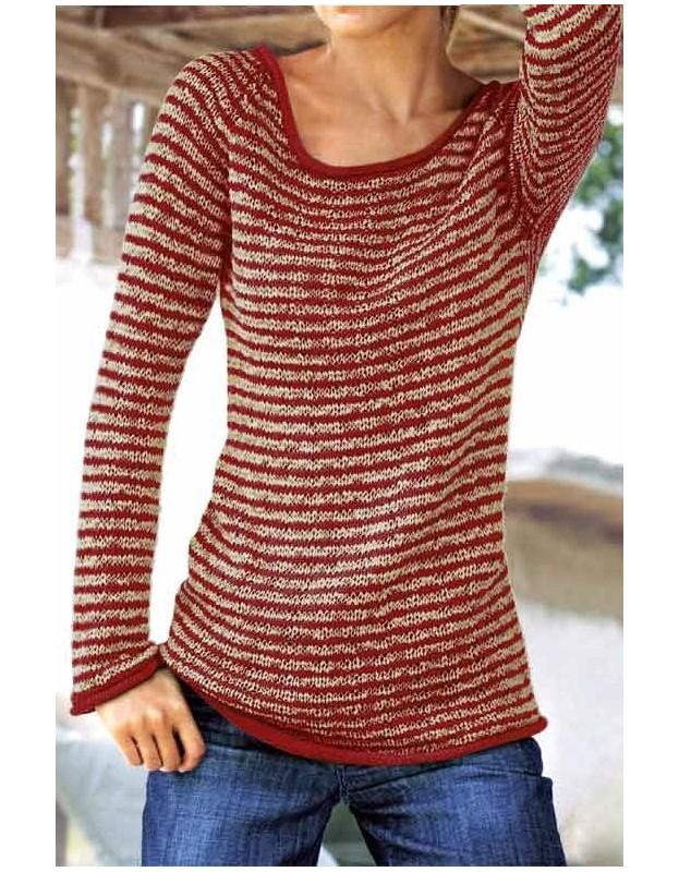 Dryžuotas raudonas megztinis