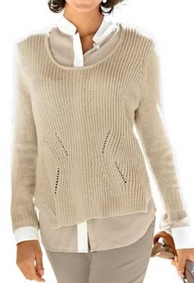 Chenille sweatshirt, beige