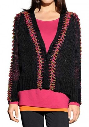 Ribbon yarn cardigan, black-multicolour
