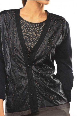 Laser cut cardigan, black-taupe