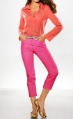 Lable stretch jeans, pink