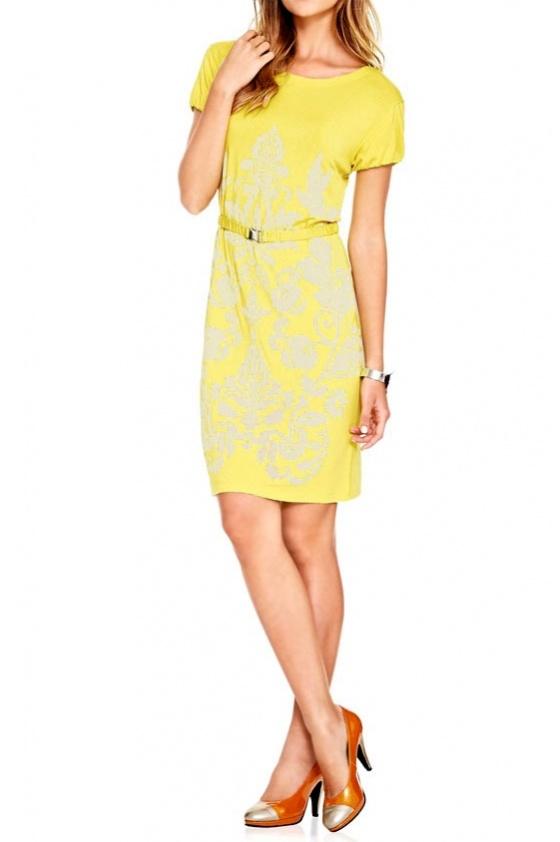 Geltona suknelė su dirželiu. Liko 42 dydis