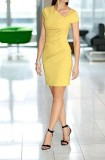 Dress with ruchings, yellow