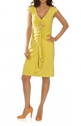 Dress with strass, yellow