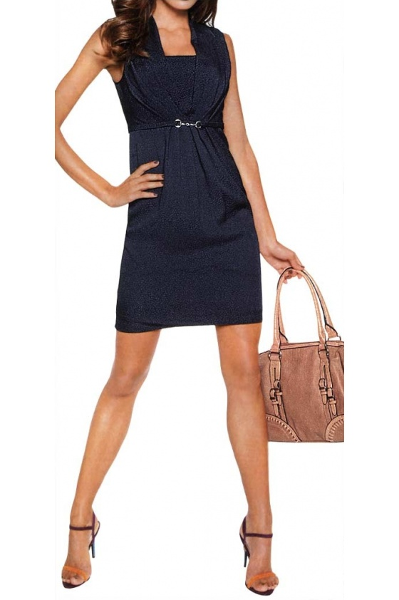 Tamsiai mėlyna suknelė su sagtele