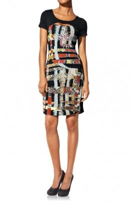 Bodyforming dress, black-multicolour