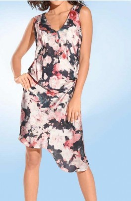 Satin dress, rose-multicolour