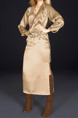 """Ilga šilkinė suknelė """"Golden"""". Liko 38 dydis"""
