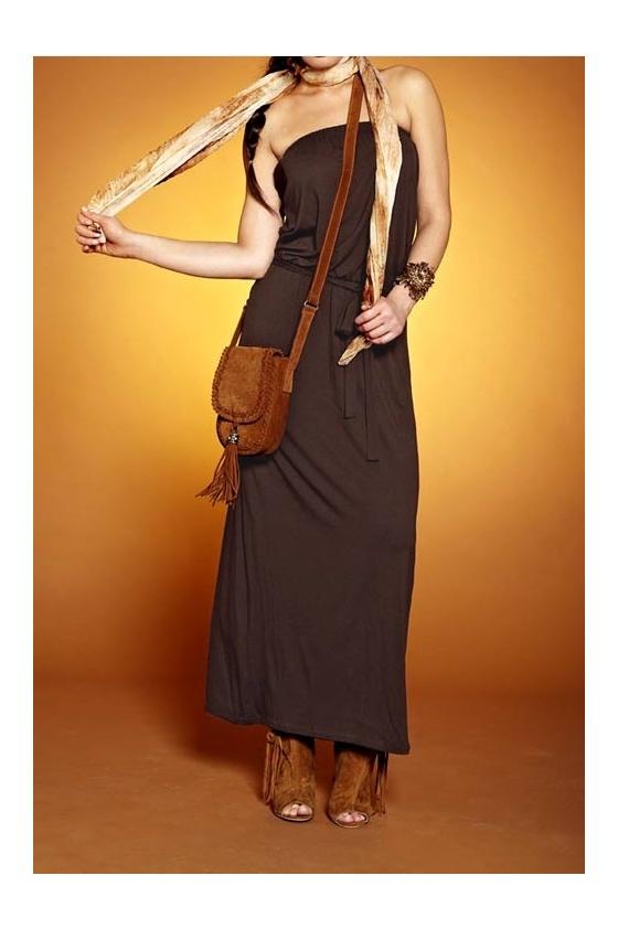 Maxi-length dress, dark brown