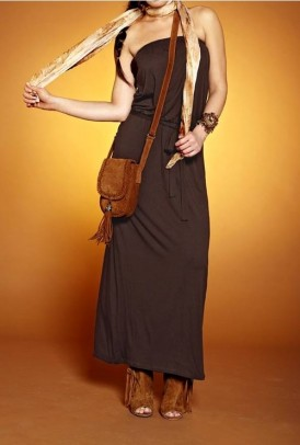 Maxi-length dress, dark brown