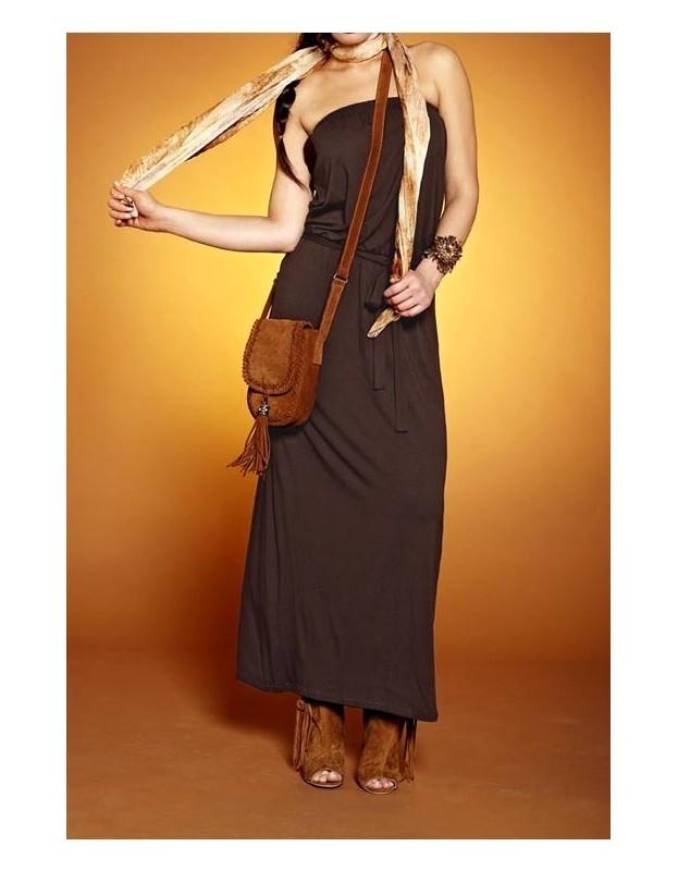 Tamsiai ruda maxi suknelė