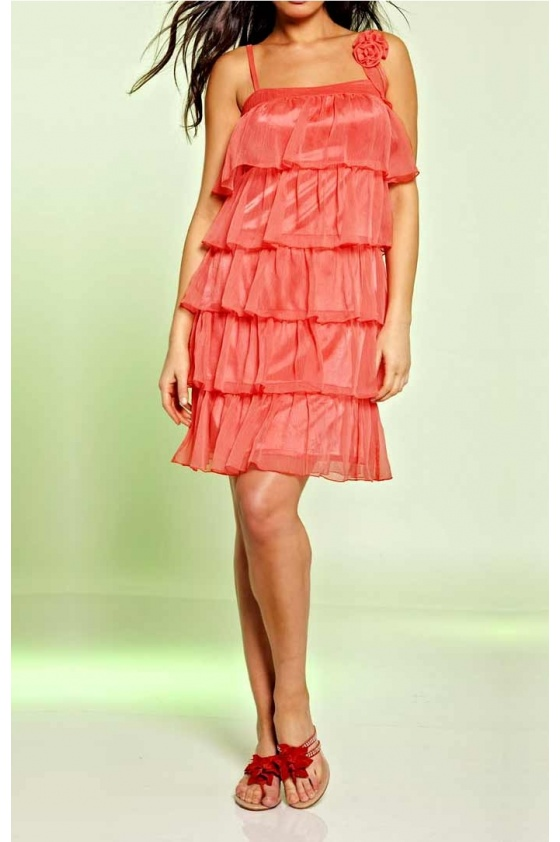Chiffon-flounce dress, lobster
