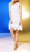 Lasercut flounce dress, white