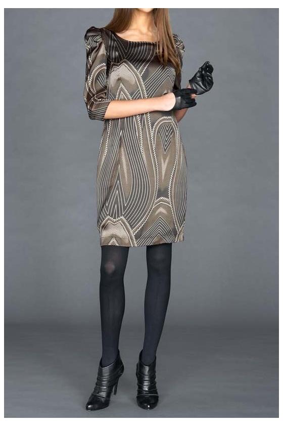 Satin dress, gray-taupe