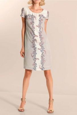 Sheath dress, cream-taupe-multicolour