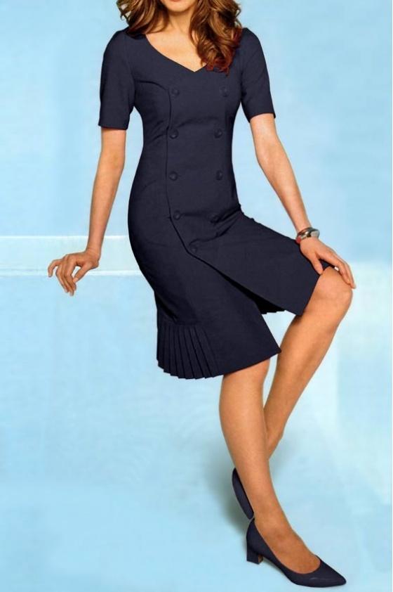 Klasikinė tamsiai mėlyna suknelė