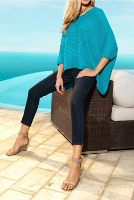 Poncho sweatshirt, turquoise