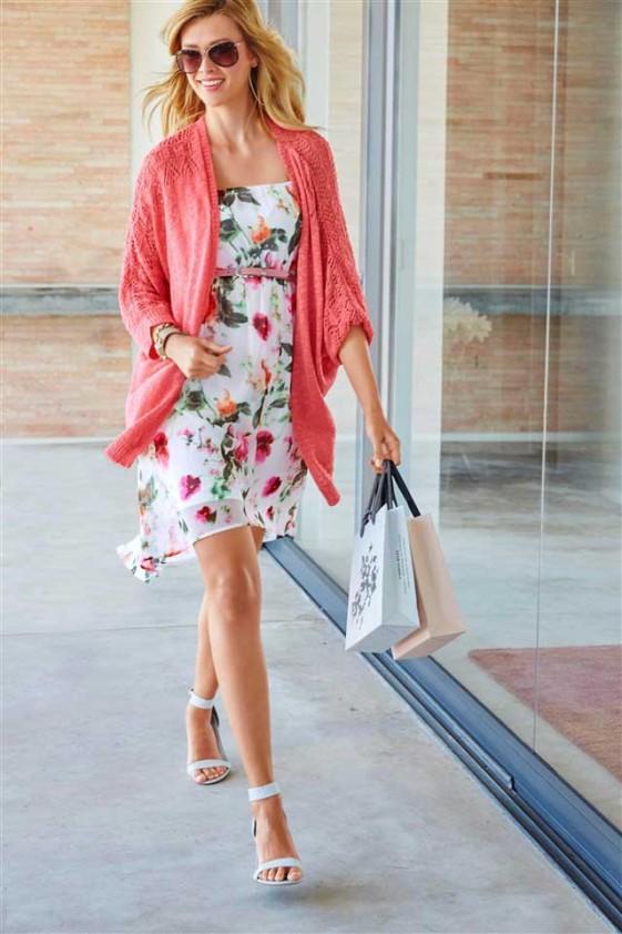 Gėlėta suknelė su nuimamomis petnešėlėmis