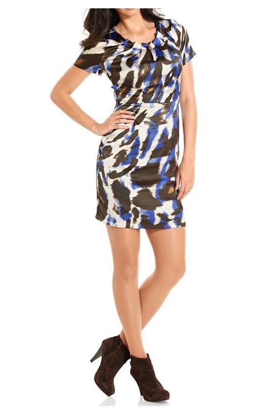 Satino margaspalvė suknelė