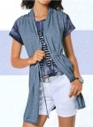 Fineknit cardigan, denim blue