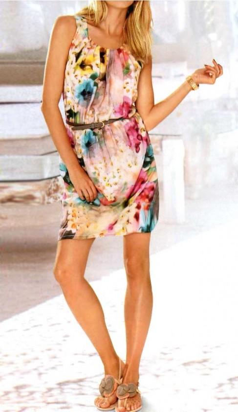 Dress, apricot-multicolour