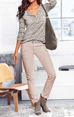 Stretch trousers with embroidery, old rose