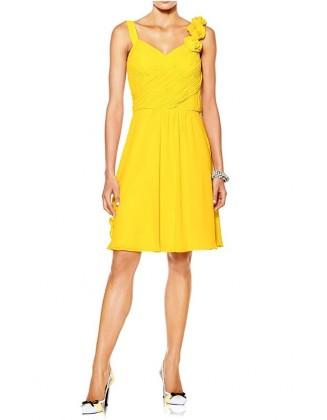 Prabangi geltona kokteilinė suknelė