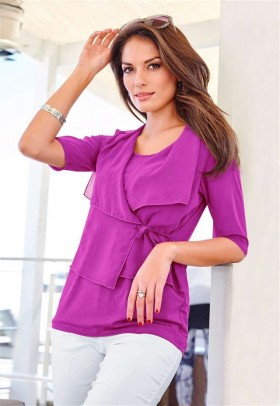 Shirt with chiffon, fuchsia